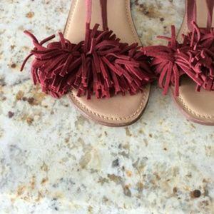 Zara GIRLS Suede Ankle Wrap Sandal